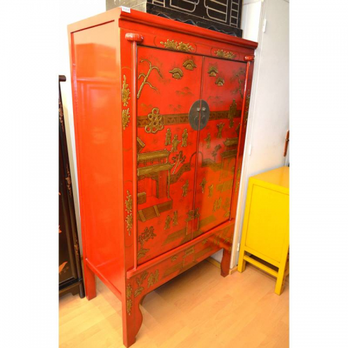 Vends Armoire Chinoise Rouge Laquée Meuble Doccasion Mymobilier